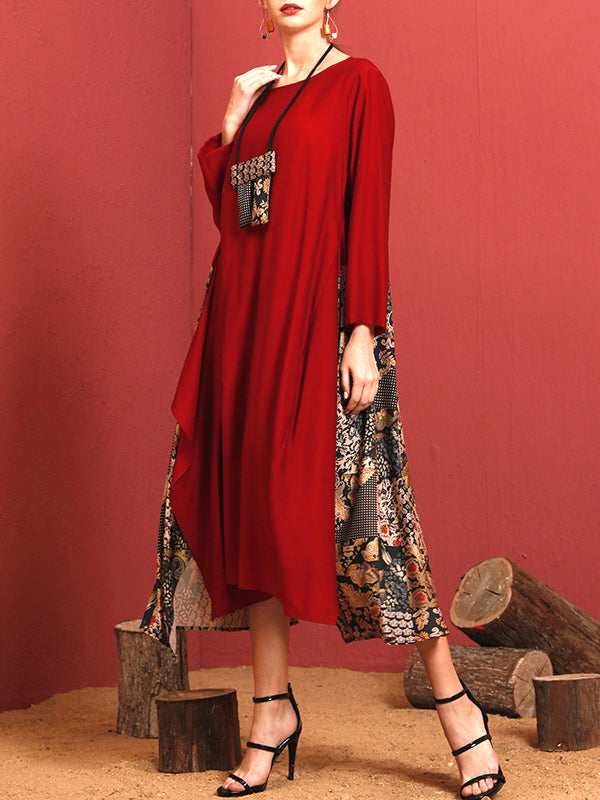 Lourdes Vintage Floral Patchwork Maxi Dress