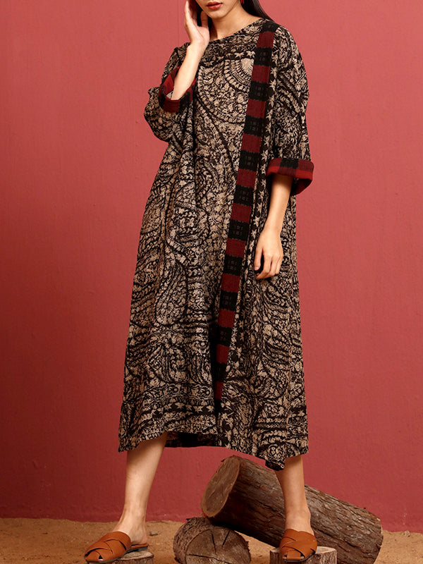 Marissa Abstract Pattern Maxi Dress with Plaid Side