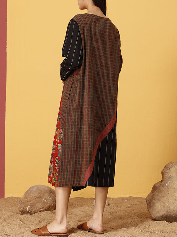 Karin Contrasting Patchwork Maxi Dress