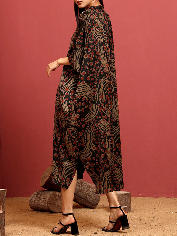 Francisca Vintage Dotted Print Maxi Dress