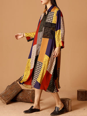 Helene Multi-colored Contrasting Patchwork Shirt Dress