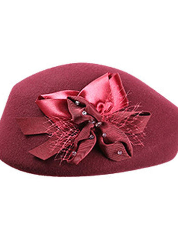 Fancy Bowknot Wool Beret