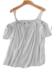 All too well off-Shoulder Ruffle Lace up Tank Top