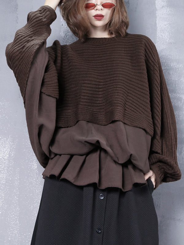 Miriam Knit & Linon Cotton Joint Pullover Sweatshirt with Batwing Sleeves