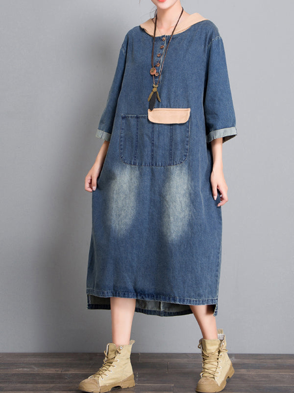 Camryn Hooded Contrast Color Pullover Denim Blue Shift Dress