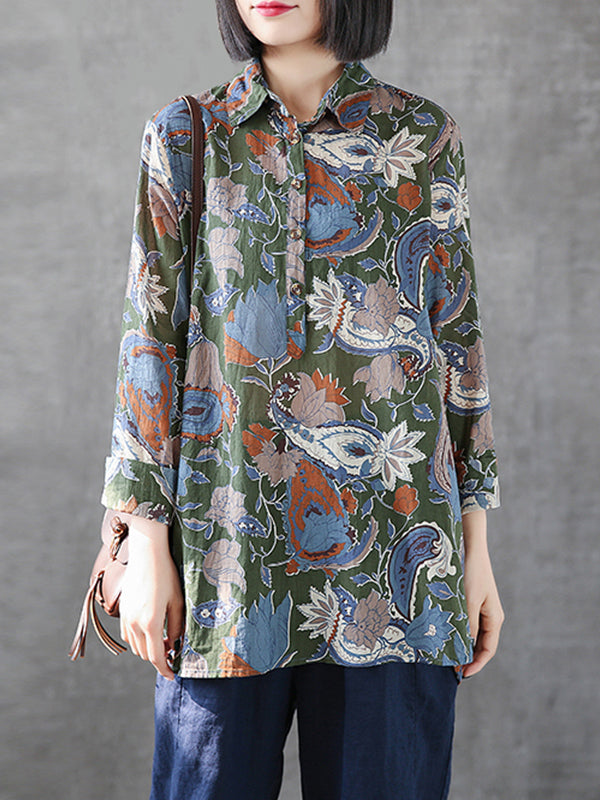 Charity Vintage Contrasting Abstract Floral Print Buttoned Lapel Tops