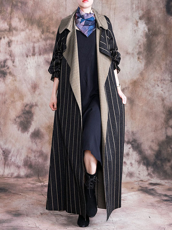 Stripe Print Thickened Long Coat