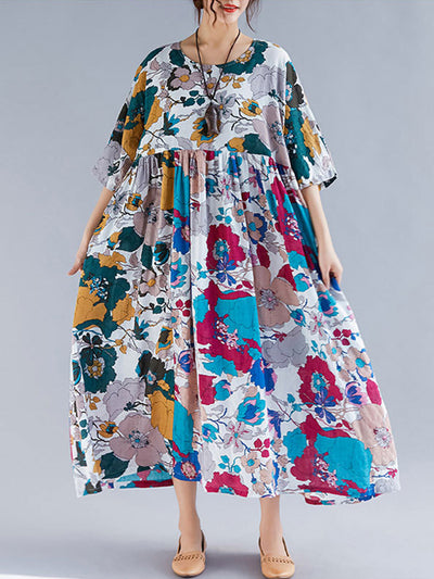 Lux Bright Flowers Smock Dress
