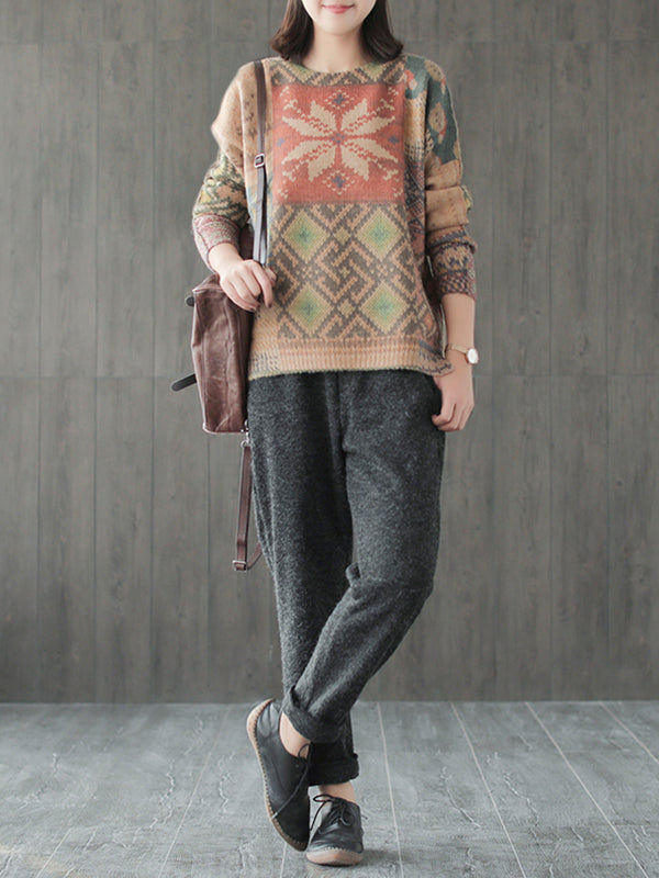 Mae Round Neck Side Splits Sweater Top with Ethnic Prints
