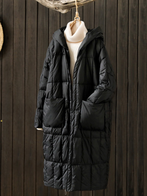 Lucille Ethnic Hooded Solid Color Quilted Down Coat with Pockets