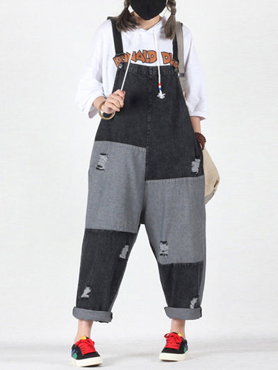 Yaretzi Contrast Color Ripped Joint Overall Dungarees