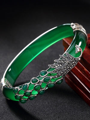 Charlene Vintage Jade Cuff Bangle with Silver Peacock Inlay