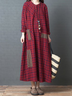 Marjorie Round Neck Linen Cotton Plaids Shirt Dress with Pocket
