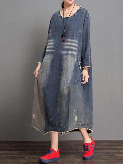 Helen Round Neck Ripped Denim Blue Shift Dress