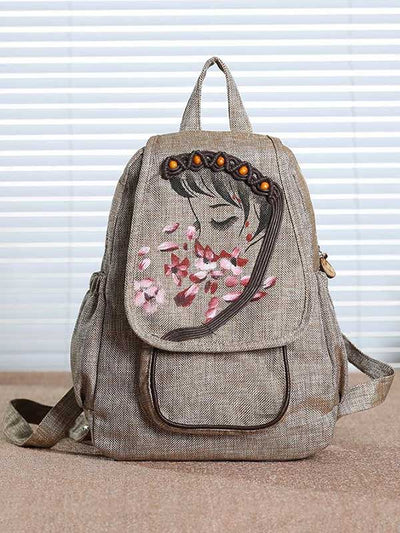 Embroidery Linen Backpack