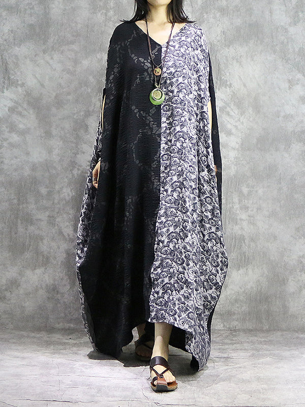 Diplomatic Views Plus Size Cotton & Linen Kaftan Dress