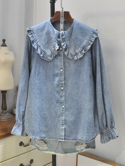 Virgie Lapel Dolly Collar Denim Cowboy Buttoned Shirt with Bubble Sleeves