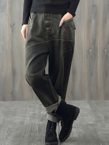 High Rise Buttoned Pants