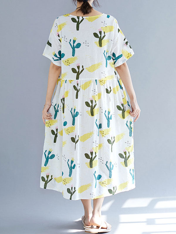 Biking Through Cactus Cotton Smock Dress