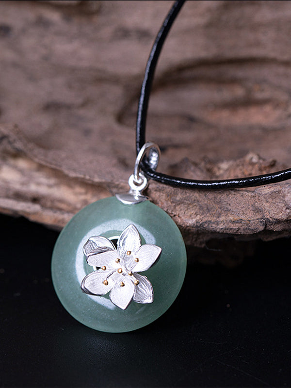 Kristen Ethnic Silver Lotus Jade Pendant with Peace Buckle