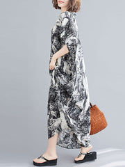 Let's Do This Ink Print Kaftan Dress
