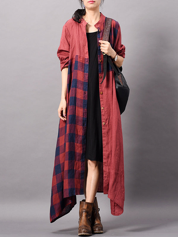 Dena Contrasting Plaid Print Shirt Dress with Pockets
