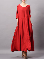 Maude Pure Color Pleated Maxi Dress with Pockets