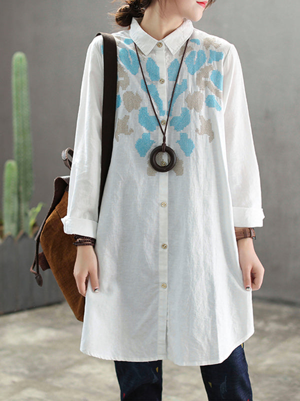 Janell Linen Cotton Joint Shirt with Geometry Embroidery