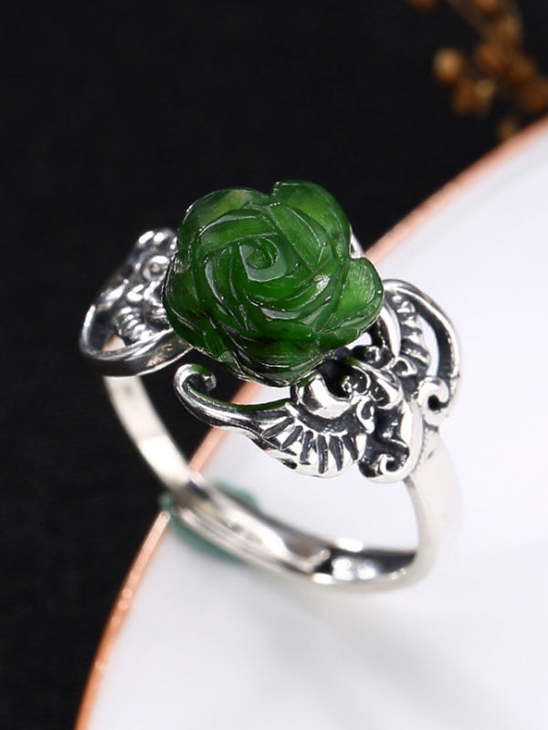 Georgia Silver Jade Open Ring with Rose Carving