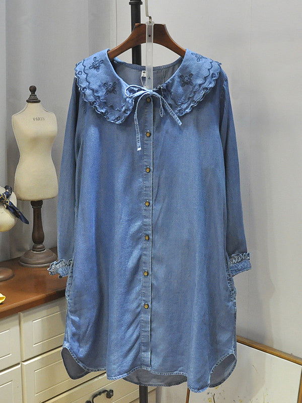 Ila Dolly Collar Embroidered Buttoned Flouncy Denim Cowboy Shirt