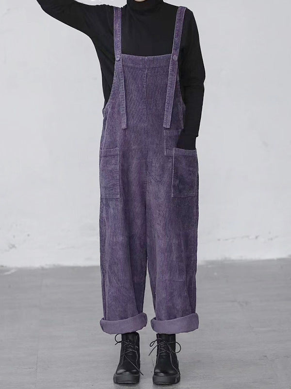 Solid Color Corduroy Overalls Dungarees