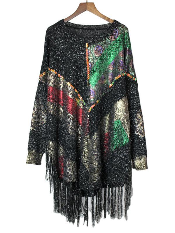 Cheryl Round Neck Tassels Sweater Top with Sequins