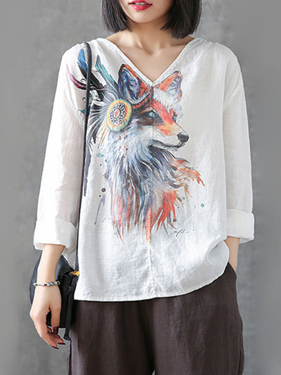 Pearlie Vintage V-neck Matching Ethnic Multi-color Animal Print Linen T-shirt