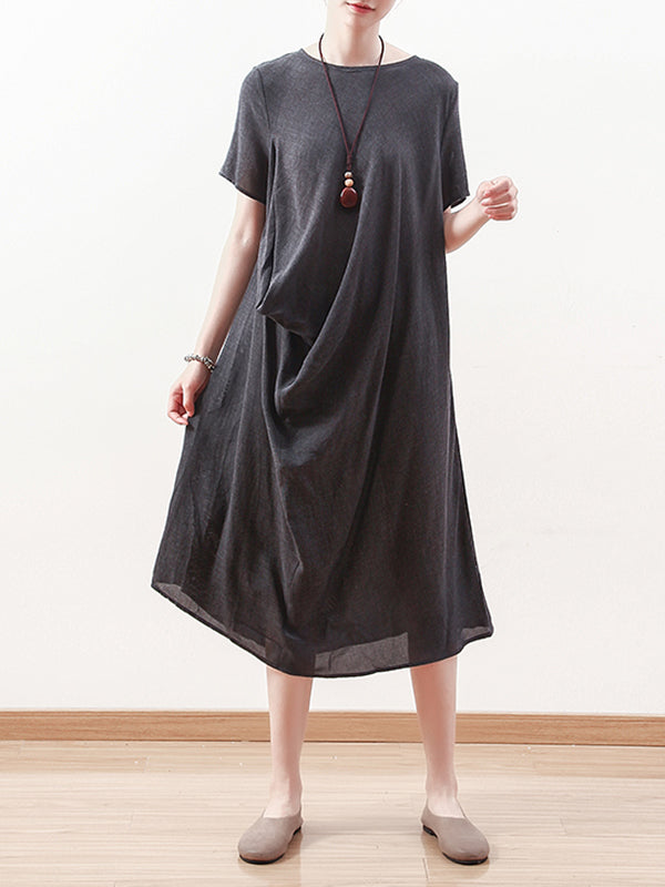 Lilian Peak Cotton & Linen Midi Dress