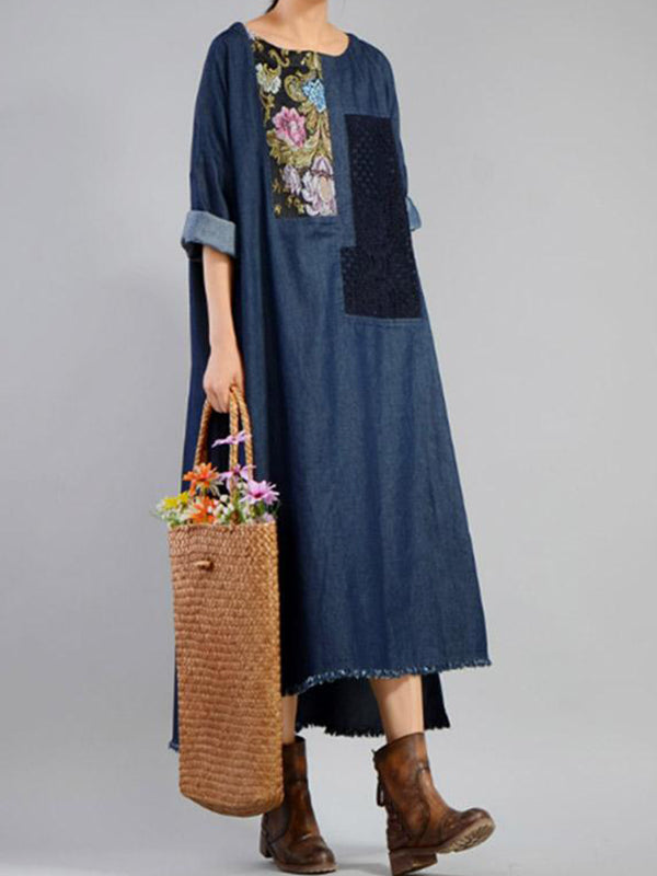 Vintage Patch Denim Midi Dress