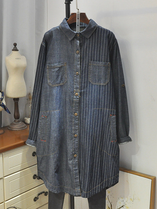 Haley Lapel Polo Collar Vertical Stripes Denim Cowboy Baggy Shirt
