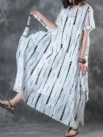 Monochrome Elastic Bow Maxi Dress