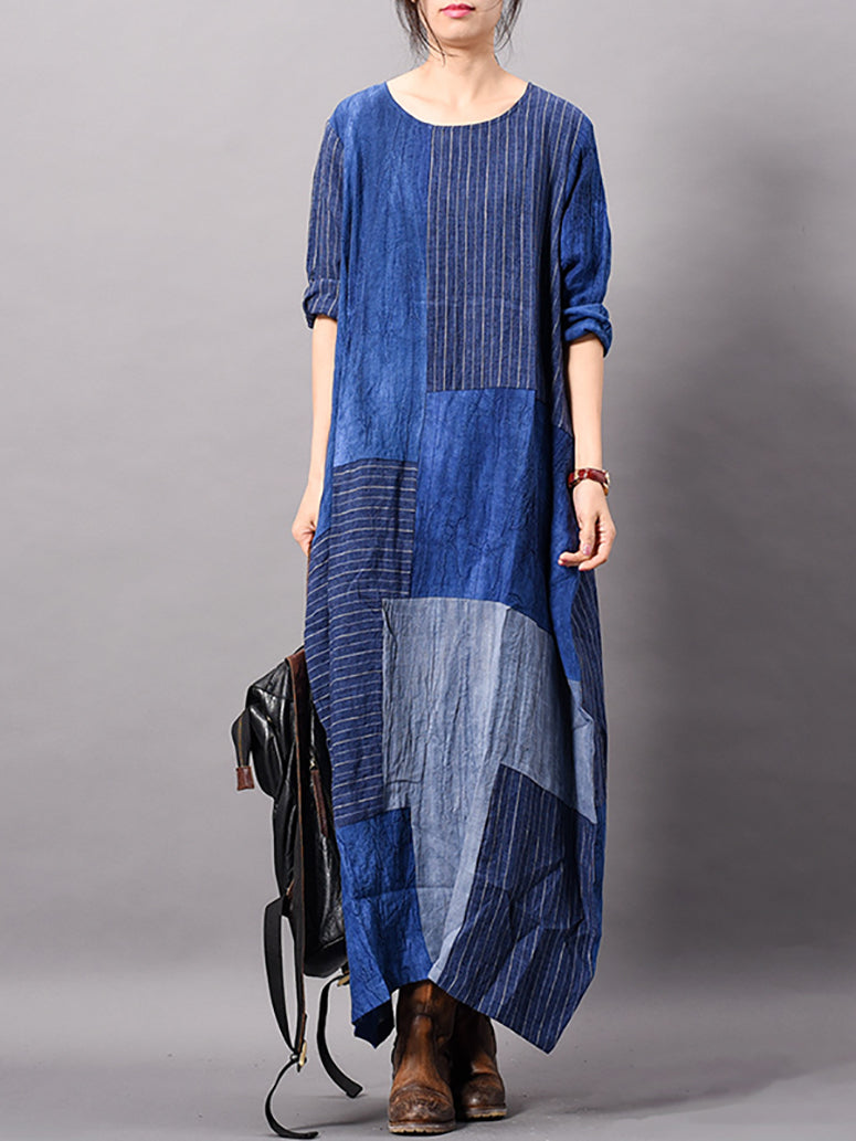 Therese Matching Patchwork Stripes Print Maxi Dress with Pockets