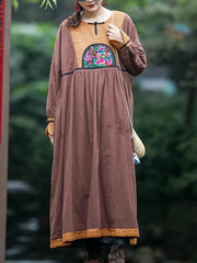 Wish Away Ethnic Patched Cotton Smock Dress