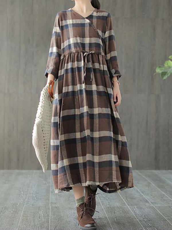 Jo V Neck Cotton Grinding Smock Dress with Plaids Prints