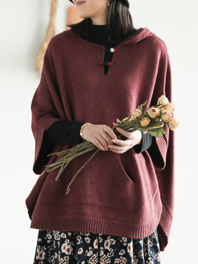 Solid Color Half-Sleeve Hooded Sweater Top
