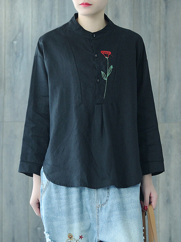 Maritza Irregular Vintage Round Collar  Floral Embroidered Tops