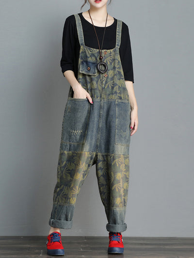 The Rockford Floral Denim Overalls Dungarees
