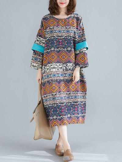 Hawaiin Ethnic Linen Midi Dress