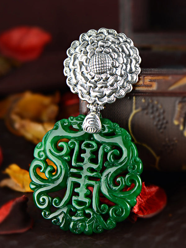 Colleen Good Fortune Jade Pendant with Floral Carving