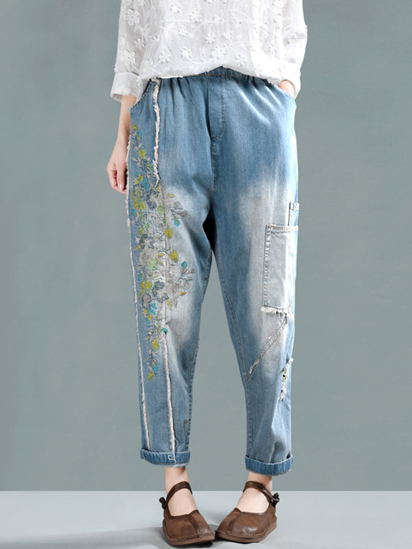 Claudette Vintage Matching Floral Embroidered Pants with Pockets