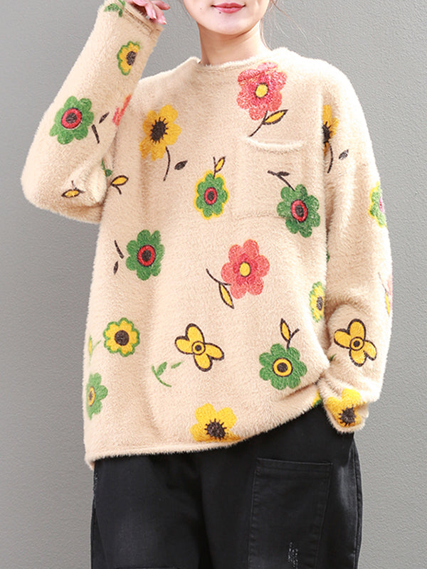 Toni Round Neck Off-Shoulder Sweater Top with Floral Prints