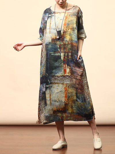 Chandra Round-neck Vintage Matching Multi-color Abstract Print High-waist Midi Dress