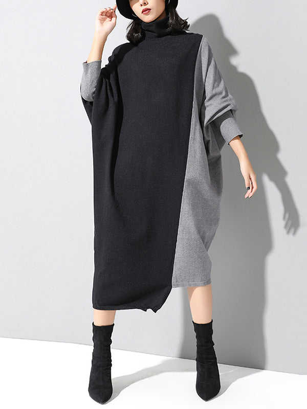 Bat-sleeve Knitted Sweater Dress
