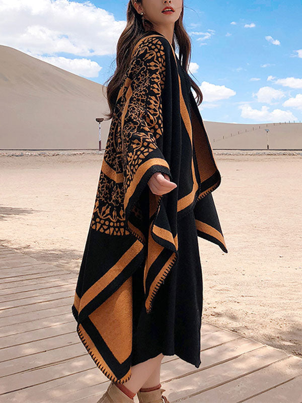 Black Ethnic Print Cloak Cardigan